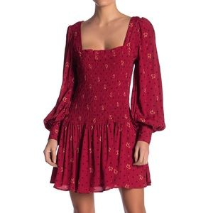 Free People Two Faces Floral Mini Dress Ruby XS